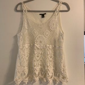 Forever 21 Floral Crochet Tank Top